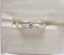 LOVELY ROUND BLUE TOPAZ STONE SET IN STERLING SILVER RING SIZE 7.5SIDE LOOP LOOK