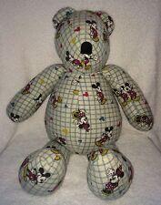 "Classic Mickey & Minnie Print Teddy Bear Homemade Handmade Stuffed Toy 24"""