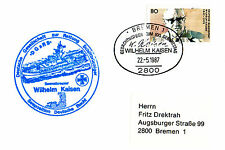 1987 GERMAN LIFEBOAT WILLHELM KAISEN SHIP CACHED CARD & A CUT DOWN POSTCARD