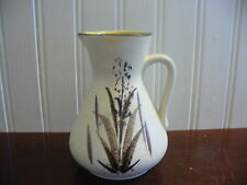 Small Vintage Hand Painted Pottery Wild Grass Motif Pitcher West Germany