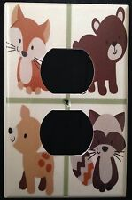Carter's FOREST FRIENDS OUTLET COVER CUTE Bear Fox Deer Raccoon outlet plate