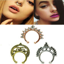 3pcs Fake Septum Clicker Crystal Nose Ring Non Piercing Hanger Clip On Jewelry