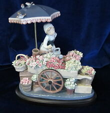 LLADRO FLOWERS OF THE SEASON BRAND NEW IN BOX #1454 WOMAN FLOWER CART UNTOUCHED
