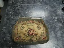 Antique Art Nouveau Ornate Frame Petit Point Needlepoint Large Purse Handbag