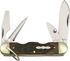 Rough Rider RR533 Camp Folding Knife w/Amber Jigged Bone Handles