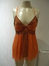 LADIES ORANGE STRAPPY SUNTOP BY TOPSHOP SIZE 8 UK NEW