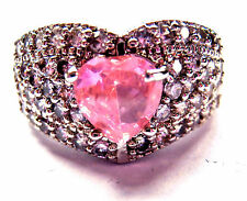 GORGEOUS PINK  & WHITE SPARKLY TOPAZ CLUSTER LADIES HEART  RING NEW IN GIFT BOX