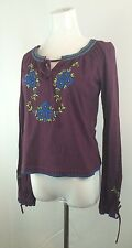PURPLE ANNA SUI WOMENS BLUE GREEN FLORAL EMBROIDERY TIE SLEEVE SHIRT TOP SZ S
