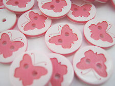 """10 Pink Butterfly Sewing Buttons 13mm (1/2"""") Resin Knitting Craft Embellishments"""