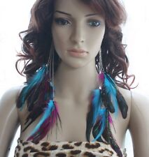 10a2-10 silver chain colorful Natural Feather Earrings Jewelry 1 pair lhf130611