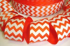 1.5 ORANGE WHITE CHEVRON ZIG ZAG STRIPE HALLOWEEN GROSGRAIN RIBBON HAIRBOW BOW