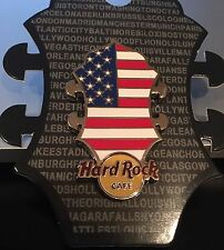 HARD ROCK CAFE ONLINE USA FLAG GUITAR HEADSTOCK SERIES PIN 2015 RARE SILVER