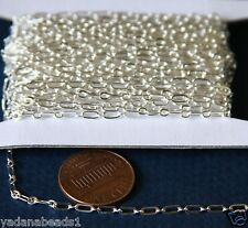 32ft spool of Silver Plated Long and Short chain 4X2mm