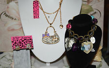 3 PC BETSEY JOHNSON PURPLE BOW CRYSTAL HANDBAG MISMATCH EARRINGS CHARM BRACELET