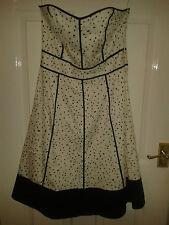 Womens Strapless Sleeveless Dress - Coast - White - Black Polka Dots - 12 UK