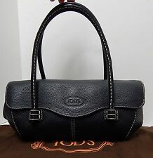 Tod's Corniche Wave Black Pebbled Leather East West Small Shoulder Bag Italy