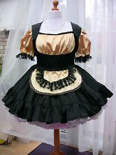 Amazing Black and Gold Satin Adult Sissy Maids dress size xxl
