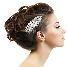 Grecian Bridal Prom Silver Laurel Leaf Hair Pin Clip Dress Snap Barrette Comb W8