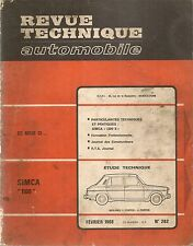 REVUE TECHNIQUE AUTOMOBILE 262 RTA 1968 ETUDE SIMCA 1100 PARTICULAR SIMCA 1200 S