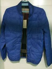 $795 Burberry Brit Down-Filled Quilted Bomber Blue Jacket S/M