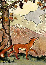 Fox Mountain landscape Fairy Tale ACEO Canvas Folk Art Print
