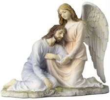 "9.25"" Angel Comforting Jesus Christ Statue Sculpture Figure Catholic Decor"