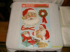 10 vintage eureka cut out flocked cardboard Christmas decorations new in package