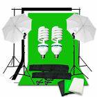 Photo Studio Backdrop Umbrella Lighting Light Kit Set + Background Support Stand
