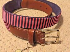 Donald Ross men's belt navy blue pink stripe canvas & brown leather size 36 NEW