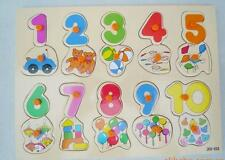 Children Wooden Early Cognitive Learning Educational Numbers Puzzle Toy 1+ Yr