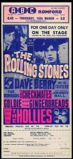 ROLLING STONES REPRO 1965 ABC ROMFORD 18 MARCH CONCERT TOUR POSTER . NOT CD