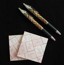 Enrobed Tiles, 2 Sets, Pen & Sticky Note Pad, Vintage Mahjong Mah Jongg Set