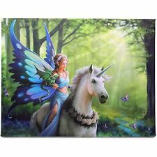 Realm of Enchantment Anne Stokes Wall Plaque Fairy Unicorn Fantasy Art Canvas