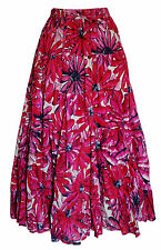 "LADIES MAXI SKIRT COTTON TIERED HIPPY BOHO GYPSY CALF LENGTH 33""  - ALL COLOURS"