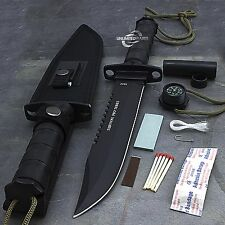 "14"" LARGE SURVIVAL TACTICAL HUNTING KNIFE w/ SHEATH Bowie Fixed Blade Drop Point"