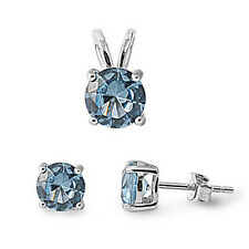 Round Aquamarine .925 Sterling Silver Pendant & Earrings Set