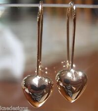 NEW 9CT 9KT GENUINE  SOLID ROSE GOLD DANGLE PUFFED HEART LONG HOOKS EARRINGS