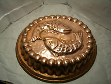 VINTAGE COPPER  Mold TIN LINED 2 FISH Embossed MADE IN ITALY
