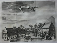 Original antique print TYGERS GRAFT, JAKARTA, INDONESIA, Nieuhof, Churchill 1744