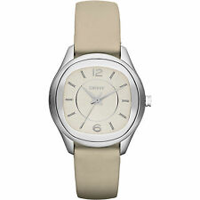 DKNY NY8809 EMPIRE SILVER TONE LEATHER STRAP LADIES  WATCH  --   2 YRS WARRANTY