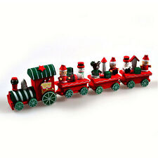 Hot New 4 Piece Wood Christmas Xmas Train for Ornament Decoration Decor Gift