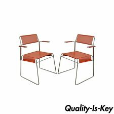 Pair of Vintage Tomado Mid Century Modern Stacking Chrome Metal Mesh Arm Chair A