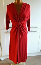 BEALES smart red stretchy 3/4 sleeve dress size 12 made in England  BNWOT