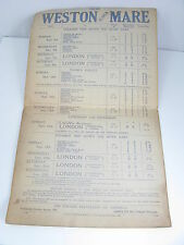 1933 WESTON-SUPER-MARE/PADDINGTON STATION STEAMER BOAT TRIP RAILWAY TIMETABLE