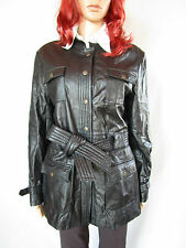 CONBIPEL Women's Vtg 90s Retro Black Leather Trenchcoat Jacket sz 16 XL AP46