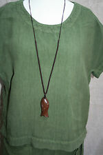 "WOODEN FISH pendant ADJUSTABLE 28""- 40"" Long Woven Cord NECKLACE Luck Symbol"
