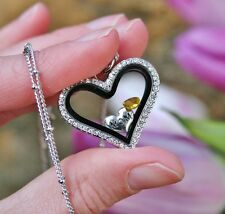 Mother Mom NOVEMBER Topaz Birthstone Floating Charm Living Locket Necklace Heart