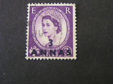 MUSCAT & OMAN, SCOTT # 59, 3a. VALUE 1955-57 STAMPS OF GB QE2 USED