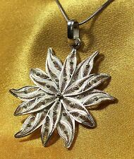 "Vintage Antique Sterling Silver Filigree Pendant With 16"" Chain"