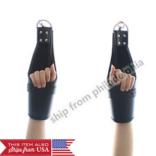 Heavy Buckle quality faux  Leather Wrist Arms Cuffs Bondage Restraint hanging